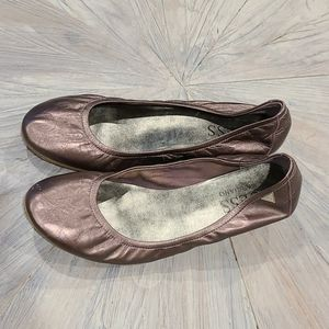 Guess Metallic lilac sm wooden heel slip on shoes